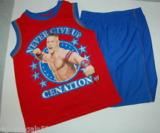 BOYS Shorts & MUSCLE Tee Shirt Never Give Up! WARNER WRESTLING Cenation Size 4-5