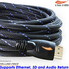 v1.4 HDMI CABLE Nylon Net 30FT For BLURAY 3D DVD PS3 HDTV XBOX LCD HD TV 1080P