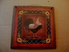 """Rooster Sunflowers country Kitchen primitive chicken home decor sign 11x11"""""""