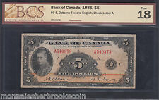 1935 $5 Dollars - Osborne Towers - F 18 - English - BCS Certified - D967