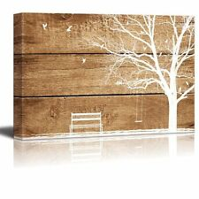 "Canvas Prints Wall Art - Artistic Abstract Tree and Birds - 16"" x 24"""