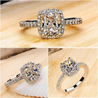 Fashion Jewelry Womens White Sapphire Silver Plated Bridal Wedding Ring Size 6-9