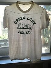 Vintage 80s Green Lane Fire Co paper thin distressed white medium t-shirt