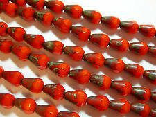 18 Czech Glass Orange Picasso Faceted Teardrop Beads 8x5mm