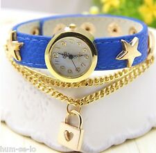 UNIQUE DESIGN LOVE LOCK PENDANT STAR STUDDDED LEATHER STRAP LADIES WATCH - BLUE