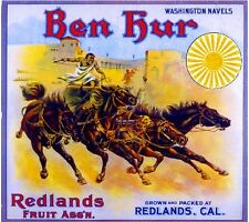 Redlands Ben Hur #3 Roman Empire Chariot Orange Citrus Fruit Crate Label Print