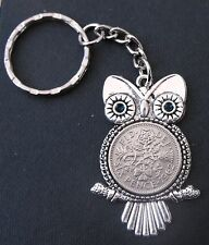 1962 55th birthday lucky Sixpence Owl Charm keyring Silver card gift box wedding