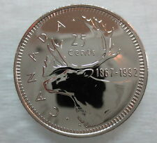 1867-1992 CANADA 25 CENTS 125th CONFEDERATION ANNIVERSARY PROOF-LIKE COIN