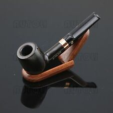 #DB2010 Straight Type Ebony Wood Handmade Tobacco Pipe+10 Pipe Filters