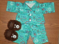 "FOR CABBAGE PATCH DOLL CLOTHES BOYS 16"" SAILOR SAMS OCEAN PAJAMAS & SLIPPERS"