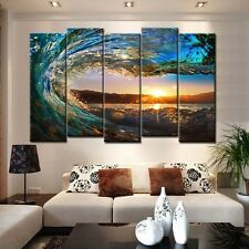 5 Panel Huge Wave Ocean Painting Canvas Wall Art Picture Home Decoration Living
