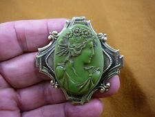 (CM51-13) Roman woman ovile green oval CAMEO Pin pendant brooch JEWELRY FLOWERS