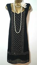 NEXT 20'S STYLE GATSBY FLAPPER CHARLESTON DECO SEQUIN/BEAD DRESS SIZE UK 14