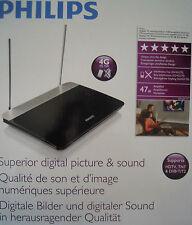Philips SDV6227/12 Digital Indoor DVB-T Antenne 47dB, HDTV/UHF/VHF/UKW - schwarz