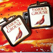 Unique! FAMOUS GROUSE CUFFLINKS chrome WHISKY whiskey GIFT novelty DESIGNER fab!