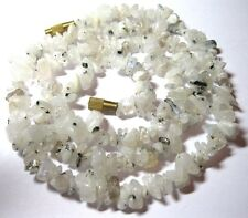 "VINTAGE Natural Real White Labradorite Quartz Stone BEAD 21"" Jewellery NECKLACE"