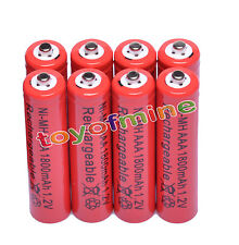 8xAAA pile 1800mAh 1.2V Ni-MH rechargeable batterie 3A Rouge pour MP3 Jouets RC