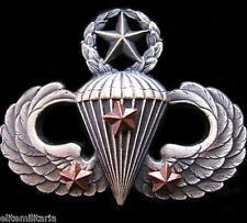 GENUINE U.S. MASTER AIRBORNE PARATROOPER PARACHUTE WINGS BADGE 3 COMBAT JUMPS