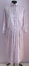 VTG 90s Ladies HERO PARIS White/Lilac Floral Lined Polyester Day Dress 16
