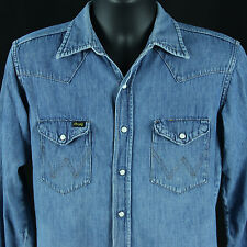 Vtg 1960s Wrangler Sanforized Denim Western Snap Shirt Chambray 15.5 33 Cowboy
