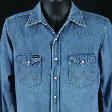 Vtg 1960s Wrangler Sanforized Denim Western Snap Shirt Chambray 15.5 33 Cowboy