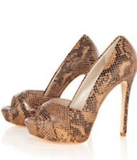 NEW KAREN MILLEN SNAKESKIN PRINT HEELS UK 3 EU 36 100% LEATHER BNIB RRP £155