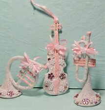 Shabby Christmas Cottage Chic Ornament Decoration Pink White Musical Instruments