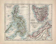 1902 MAP ~ PHILIPPINE ISLANDS ~ TASMANIA NORTH BORNEO BRUNEI & SARAWAK