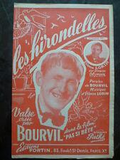 """Partition BOURVIL """"Les hirondelles"""" du film """"Pas si bête"""" - Ed. FORTIN 1946"""