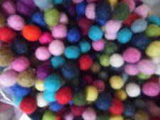 Wool Felt Balls,1cm,Packs of 100 Mixed Colours,  Free Post