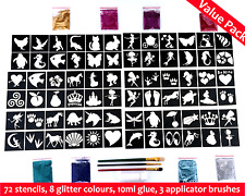 Temporary Kids Body Glitter Tattoo Value Set For Girls Princess Party Pack TTV11