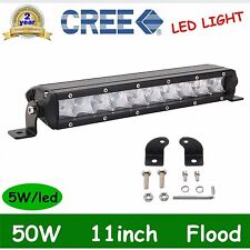 11inch 50W Single Row CREE Slim Led Offroad Light Bar Flood Jeep Boat 4WD Truck