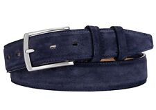 Italian Leather Belt  - Real Suede navy dark blue 38 (avail 34-46) 95 cm