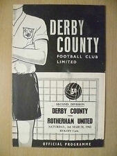 1962 Football League 2nd Div- DERBY COUNTY v ROTHERHAM UNITED,3 rd March