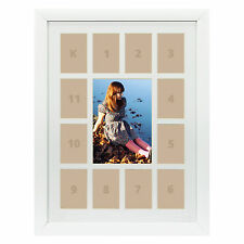 "Craig Frames, 12x16"" White Picture Frame, White Collage Mat with 13 Openings"