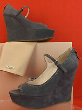 NIB MIU MIU PRADA GRAY CLAY SUEDE PEEP TOE MARY JANE PLATFORM WEDGE 41 10 $630