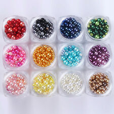 12 Colors/set 3D Nail Decoration Mixed Size Manicure Tips Colorful Peral Design