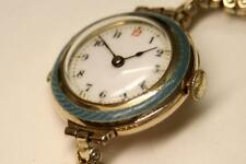 VINTAGE ART DECO SOLID 9ct GOLD & BLUE ENAMEL WATCH-Ladies 27mm- Rare&Stunning !