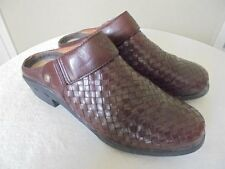 ARIAT Brown Woven Leather Slingback Western Clog Mules Slides Slip On Shoes 6 36