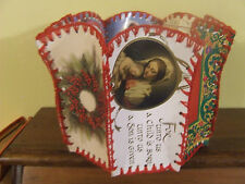 VINTAGE Christmas GREETING CARD Basket Bowl~HANDCRAFTED CROCHETED STITCHED