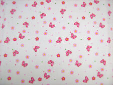 Butterfly Pink Polycotton Prints Craft / Dress Fabric SOLD PER METRE