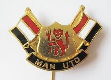 MANCHESTER UNITED - Enamel Football Stick Pin Badge #03 Red/White/Black Flags