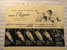Vintage Barbershop Andis Clippers All Varities Sign Ad w Barber Cutting Hair