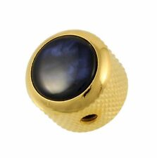 NEW Q-Parts Dome Knob - ACRYLIC BLUE PEARL on GOLD - KGD-0060 for Guitar & Bass