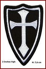 Crusader Templar Knights Shield Cross White Black Morale Patch