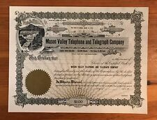 1913 Mason Valley Telephone And Telegraph Co. Unissued Stock Nv