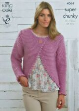 KNITTING PATTERN Ladies Long Sleeve Easy Knit Bolero Cardigan Super Chunky 4064