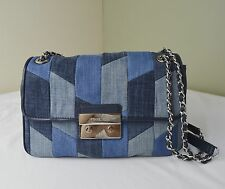 Michael Kors Denim Patchwork Sloan Large Chain Shoulder Bag