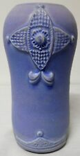 DOUGLASS POTTERY VASE EMBOSSED STUNNING BLUE GLAZE FINISH ART NEVEAU LOOK