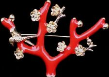 CORAL BIRD FLOWER JAPANESE  MAPLE CHERRY BLOSSOM TREE PIN BROOCH JEWELRY 2.25""